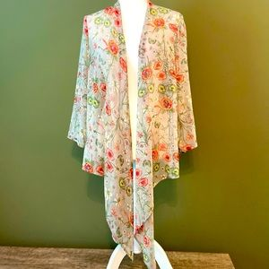 Chenault NWOT sheer floral beach/poolside wrap L